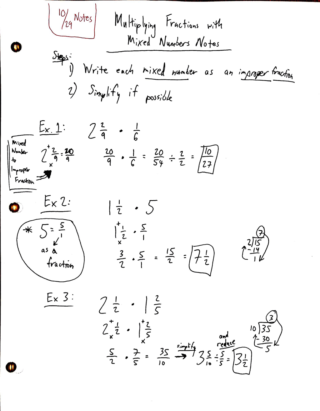 10/29 multiplying fractions with mixed numbers notes and homework