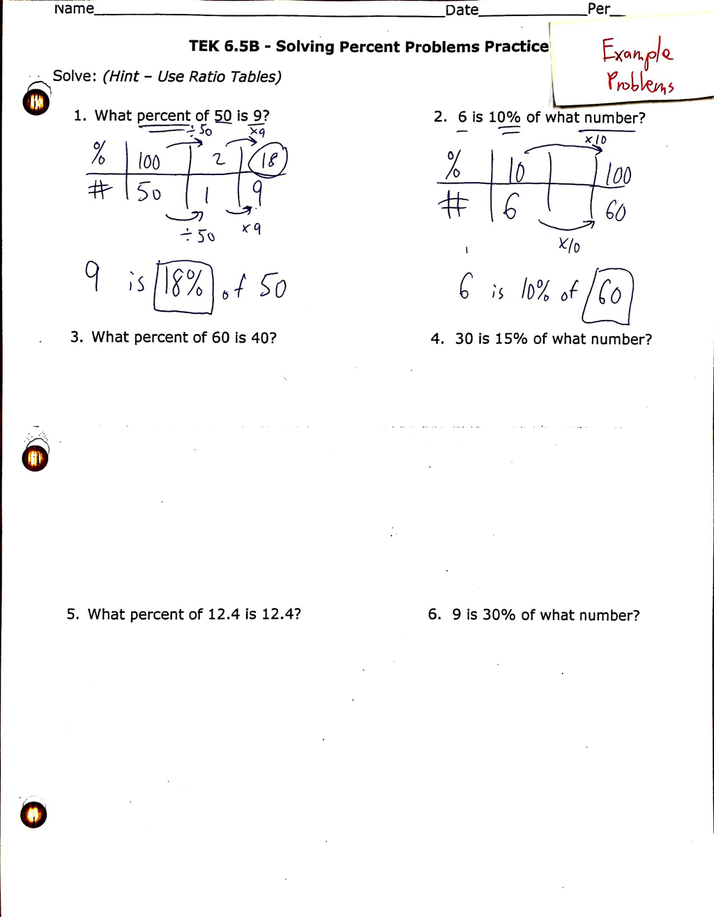 Solving Percent Problems Notes and Homework with Examples